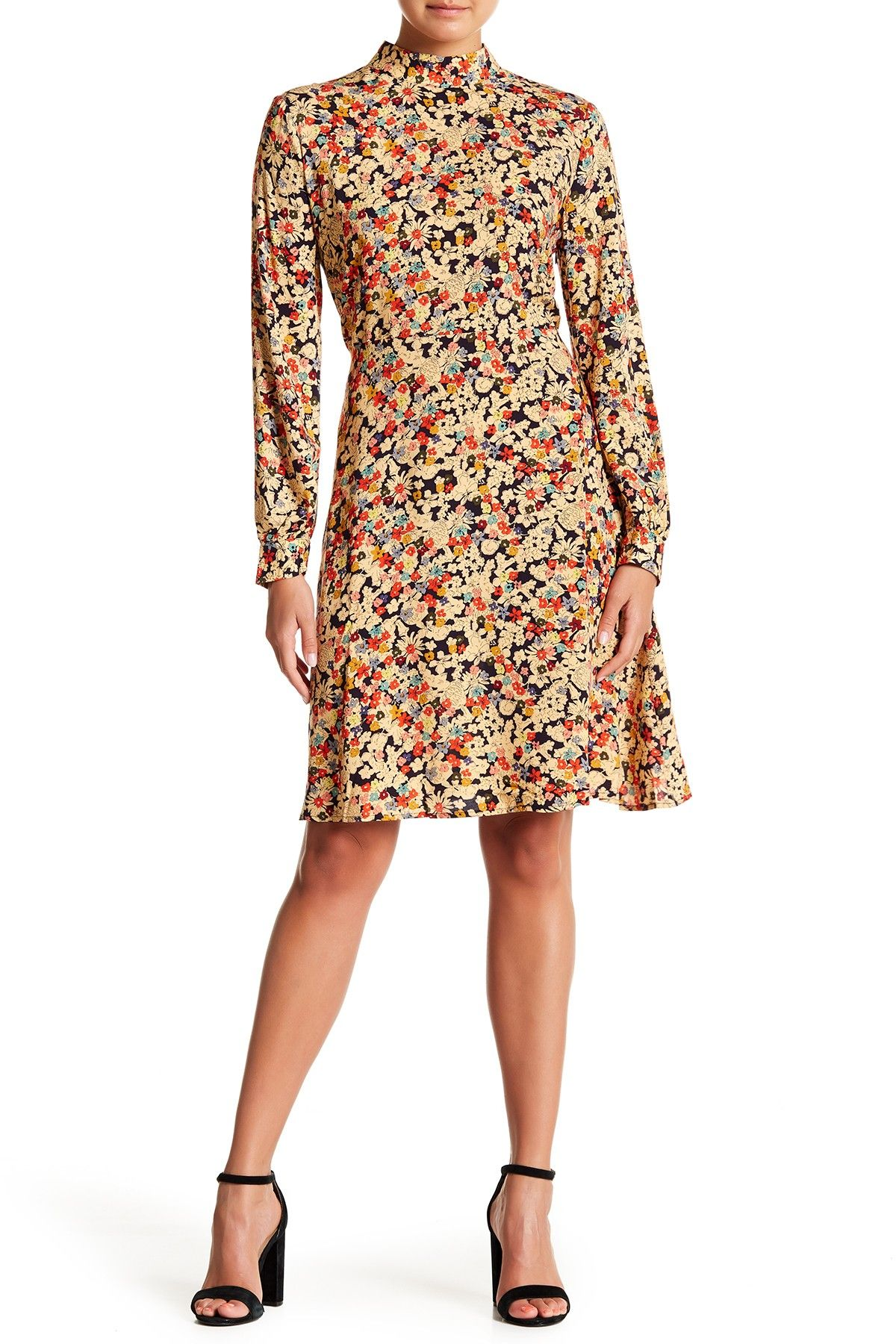 63f24fb9e4f Mock Neck Floral Print Dress
