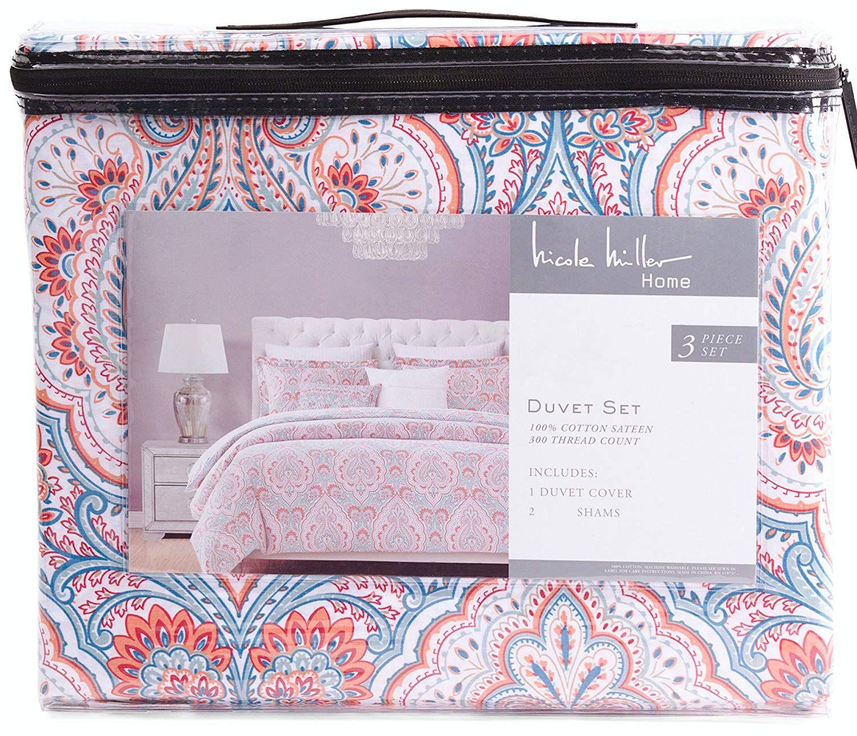 Nicole Miller Muriel Coral Turquoise Paisley 3pc Duvet Cover Set