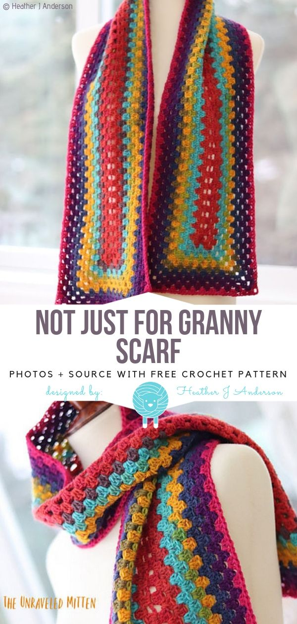Not Just For Granny Scarf Free Crochet Pattern #crochetscarves