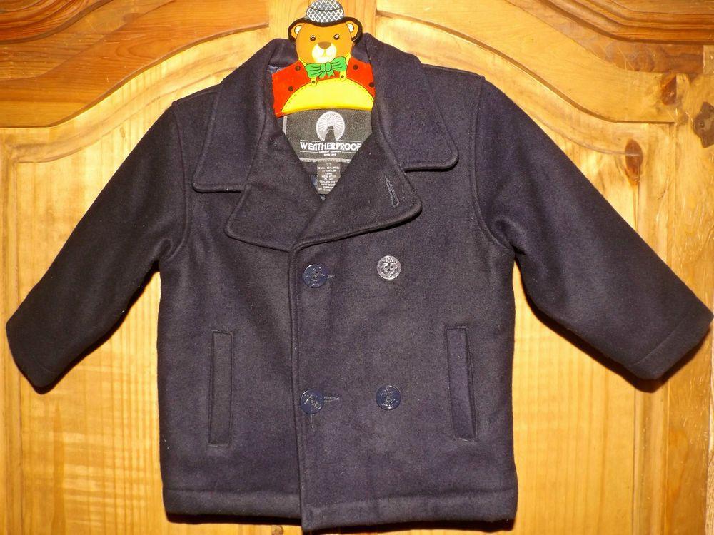 Pea Coat Navy Blue Wool Blend Weatherproof Garment Company 3T #WeatherproofGarmentCompany #Coat