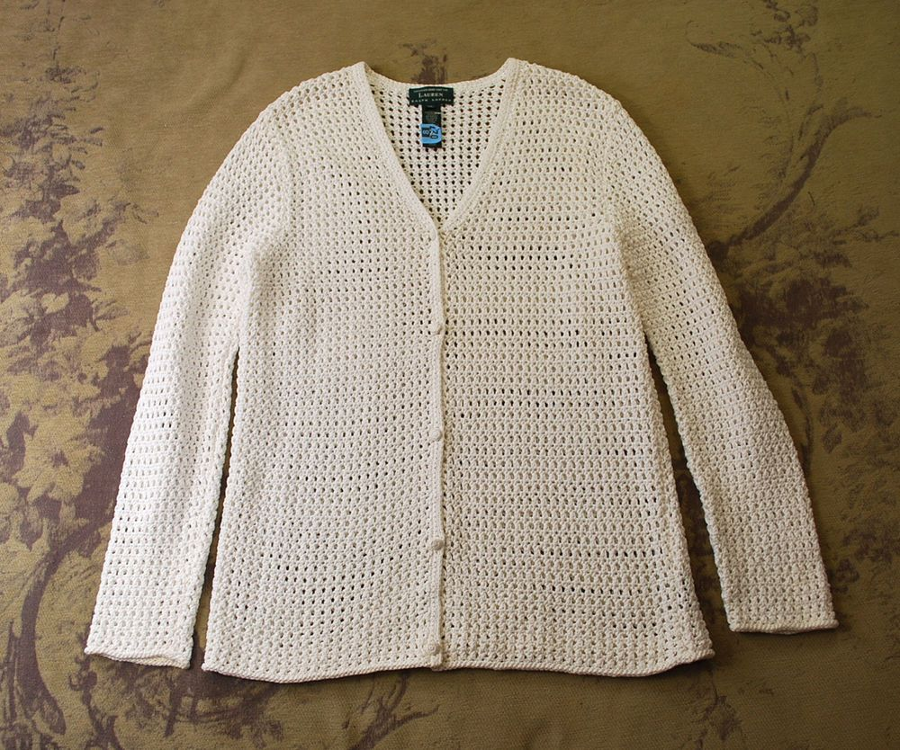 Ralph lauren white crochet cotton open knit cardigan sweater top ...