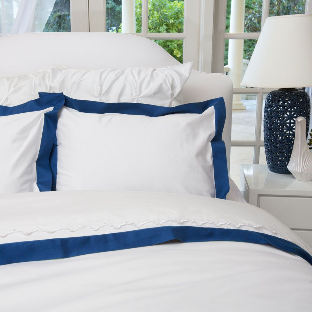 Royal blue and white bedding - Bedroom Inspiration And Bedding Decor The Linden Monaco Blue Border Duvet Cover Crane And