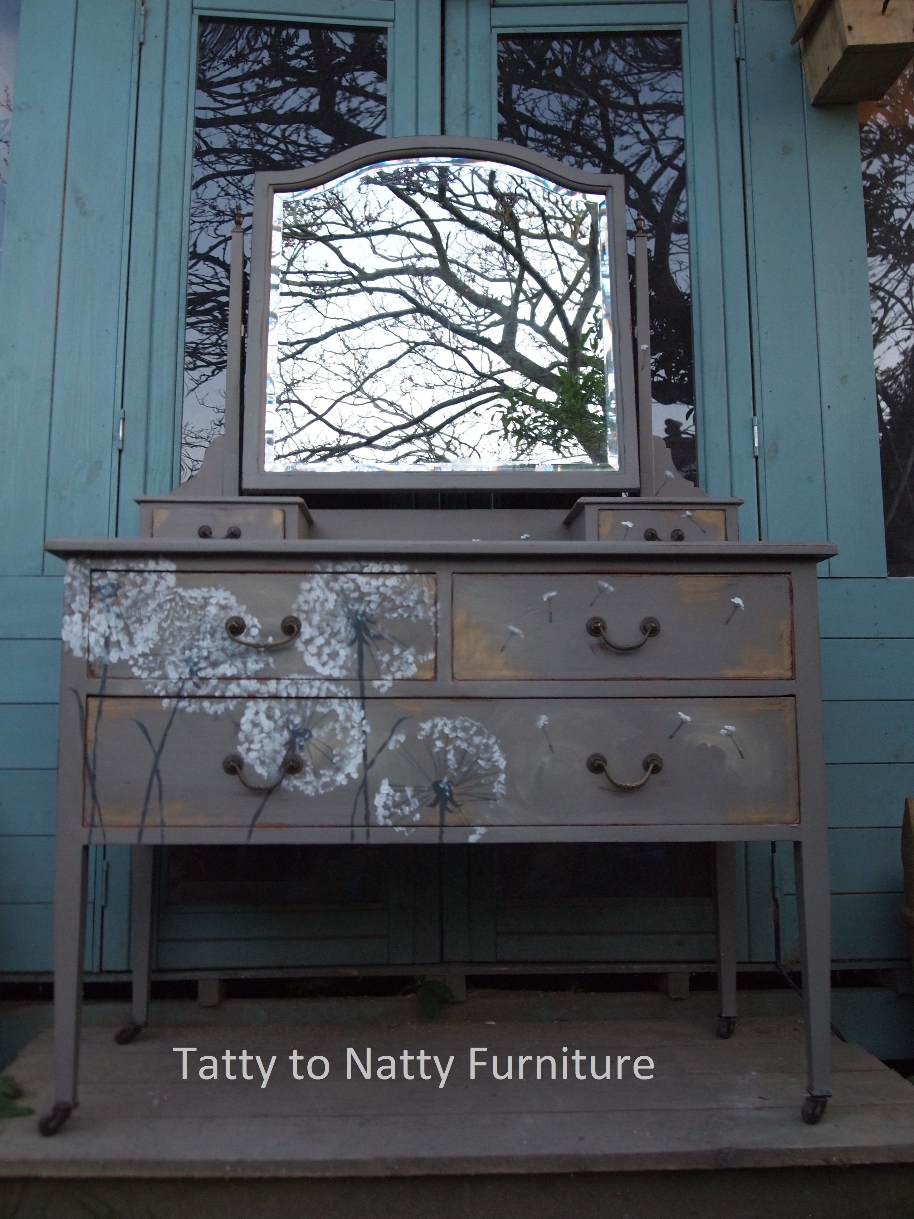 Vintage dressing table - Vintage Dressing Table Painted In Grey And Hand Painted Decorated With Dandelion Seed Heads And