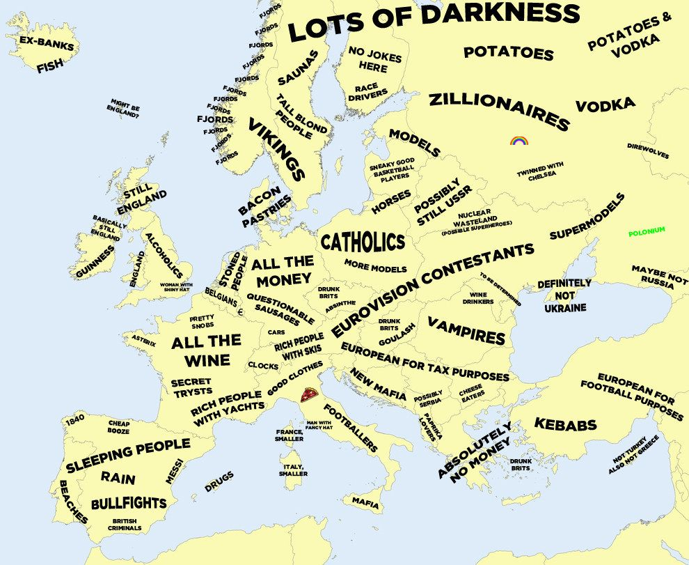 Map Of England Joke.The Definitive Stereotype Map Of Europe Stereotypes Prejuges