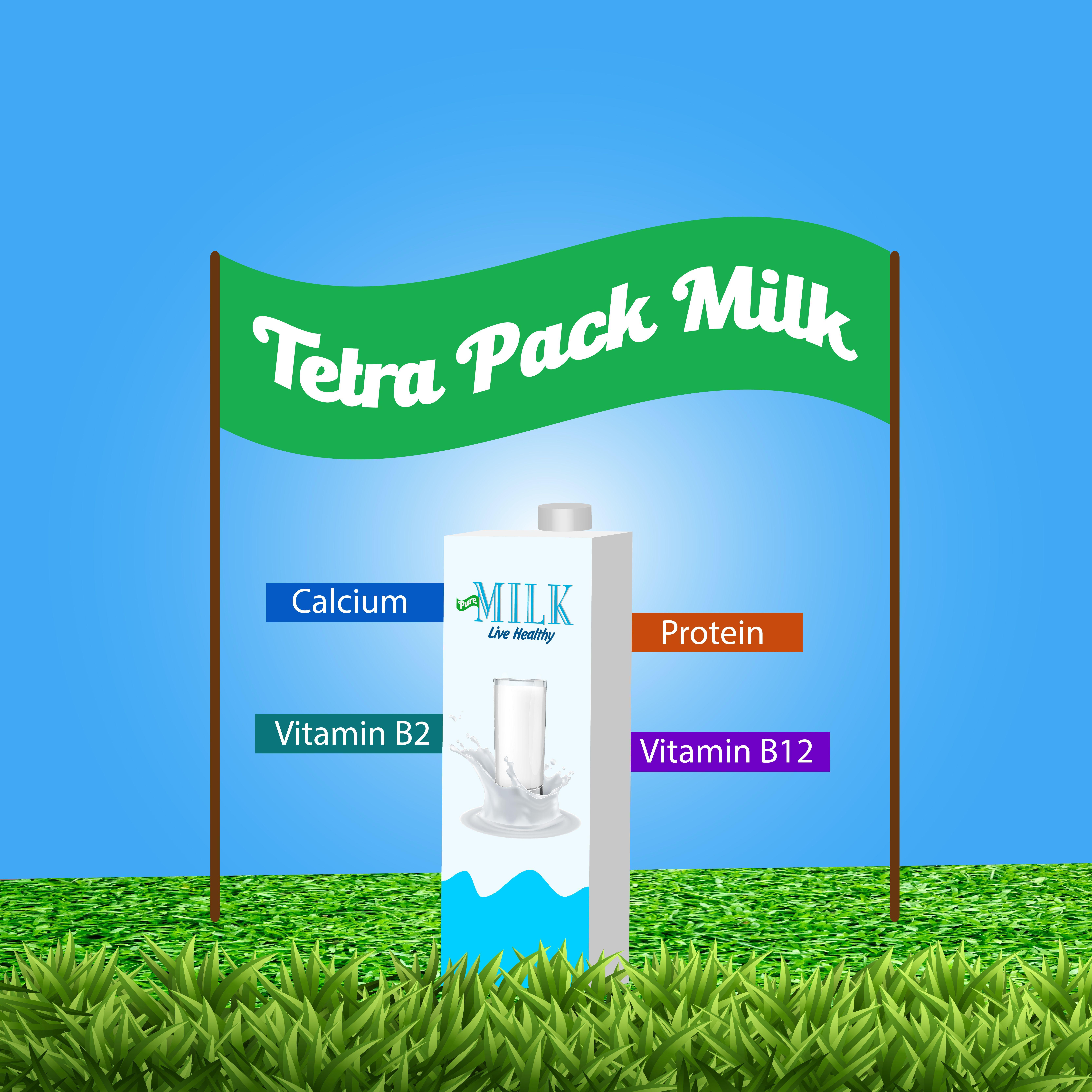 3d Tetra Pack presenting Milk Brand Milk brands, Tetra, Milk