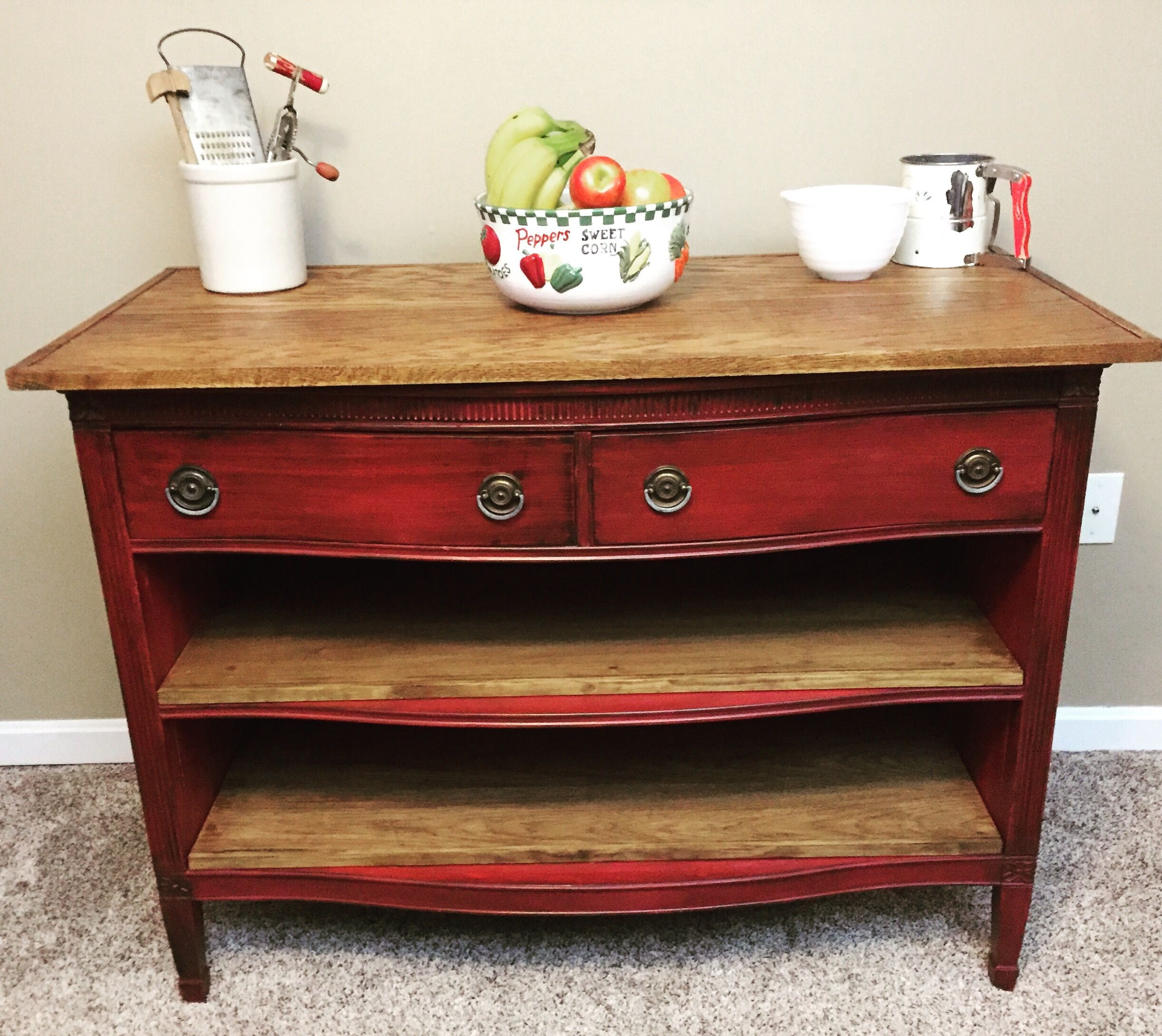Kitchen Islands Made From Old Furniture: From Antique Dresser To Rustic Kitchen Island. This 100