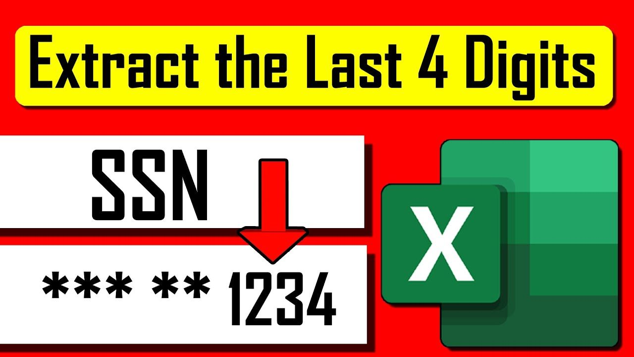 How To Extract Last 20 Digits Of Social Security Number In Excel ...