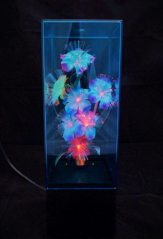 Vintage Fiber Optic Flower Box Lamp With Color Changing Light Etsy Glowing Flowers Flower Boxes Flower Lights