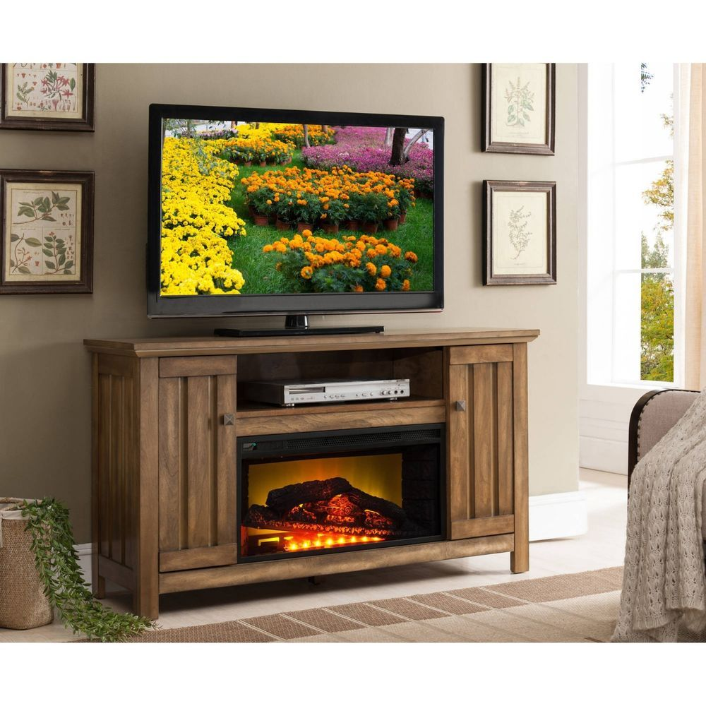 Electric Fireplace Heater 51 Tv Stand Rustic Wood Media Console Storage Cabinet Prokonian Rustic Media Console Media Fireplace Fireplace Media Console