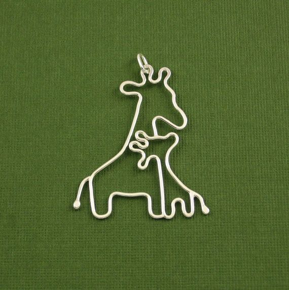 """Giraffe Pendant, Mother and Baby, Sterling Silver, Made To Order- I've always loved giraffes for my boy and I think this would be perfect """"mother's jewelry"""". Me an my little calf!    Update: I messaged the shop owner and she agreed to add our birthstones on it too! I'm super stoked!!!!"""