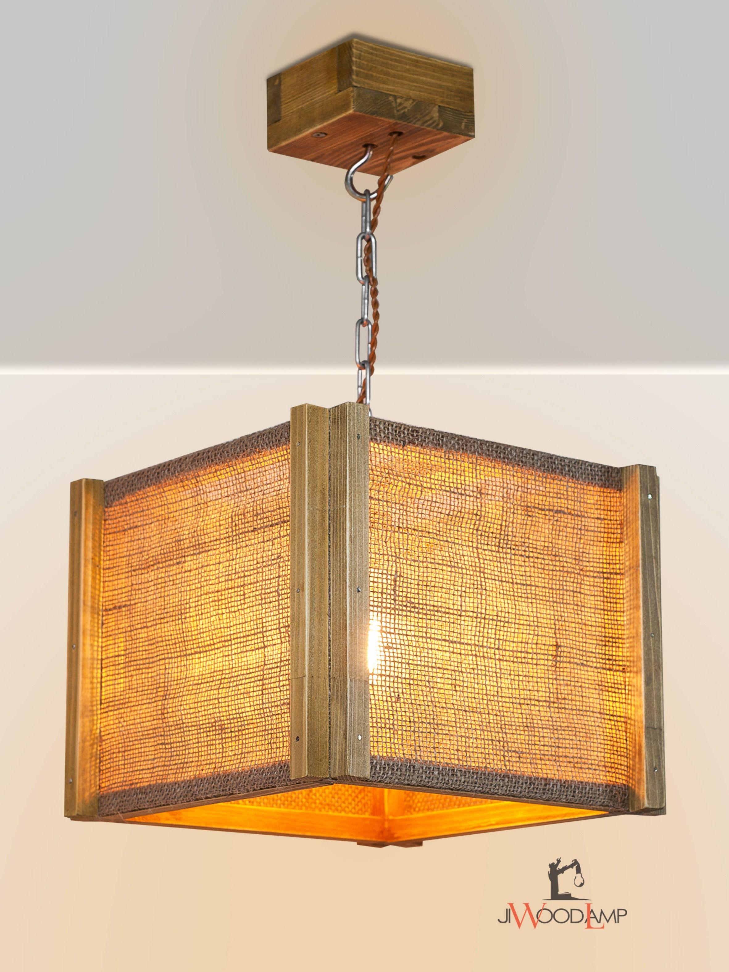 Pendant Burlap Lighting Wood Hanging Lamp Wooden Lamp Wood
