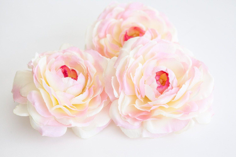 Silk Flower Set Of 3 Ranunculus In Ivory Pink Silk Artificial Flowers Read Description Item 0441 By Simplyserra Silk Flowers Artificial Flowers Flowers