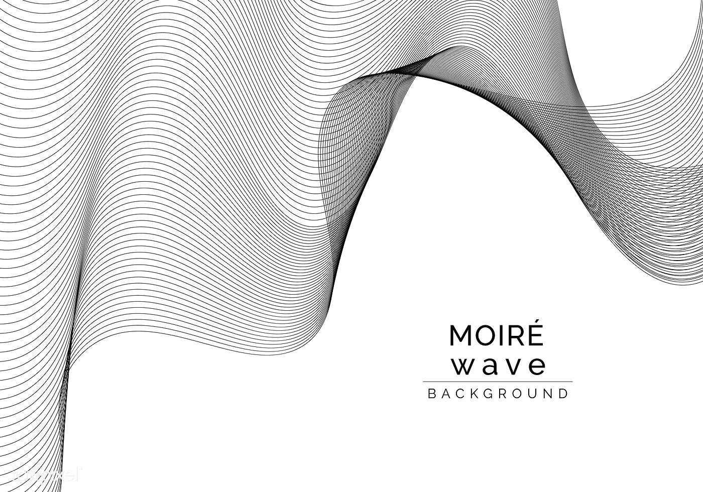 Black moiré wave on white background free image by