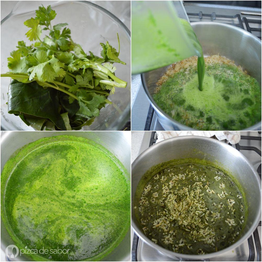 Cómo Hacer Arroz Verde Pizca De Sabor Receta Como Hacer Arroz Verde Arroz Verde Arroz Verde Receta