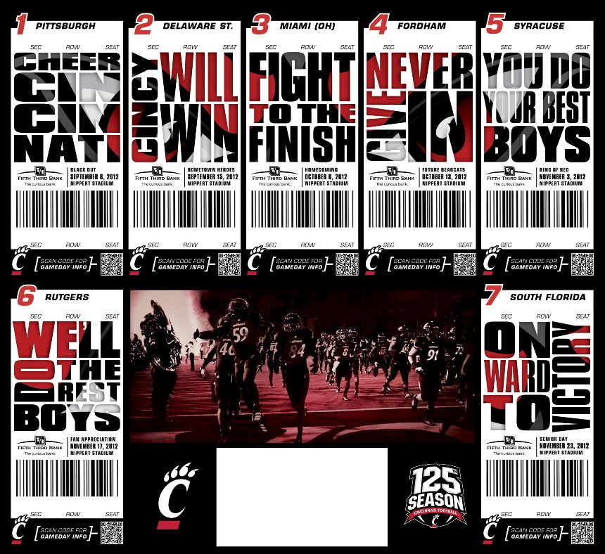 UC Football 2012 - Suzanneu0027s Portfolio Design Freelance Pinterest - create a ticket template