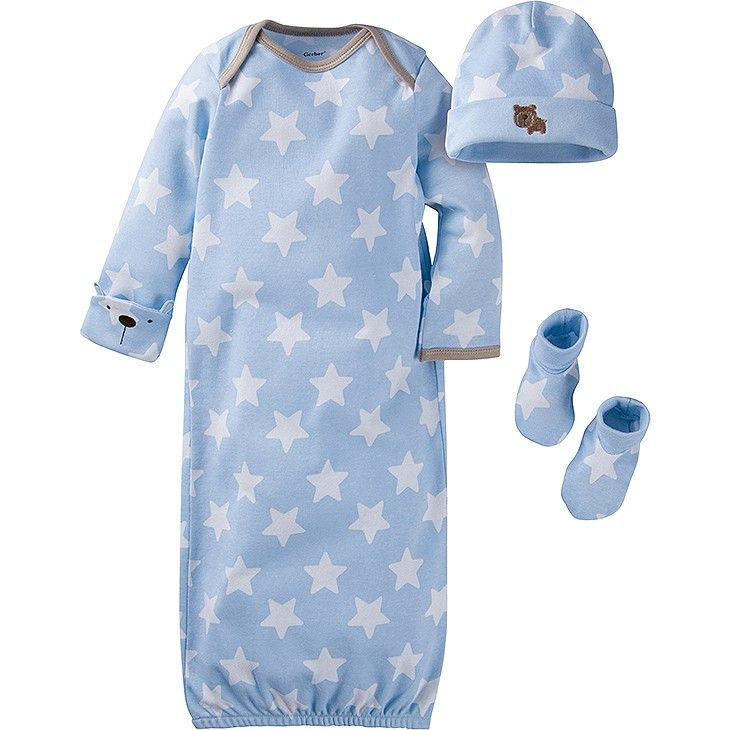 6fc019695 Wrap baby boy in 100% cotton organic interlock comfort with this 3-piece  gown starter set. Includes one lap should gown, one cap, and one pair of  bootie ...
