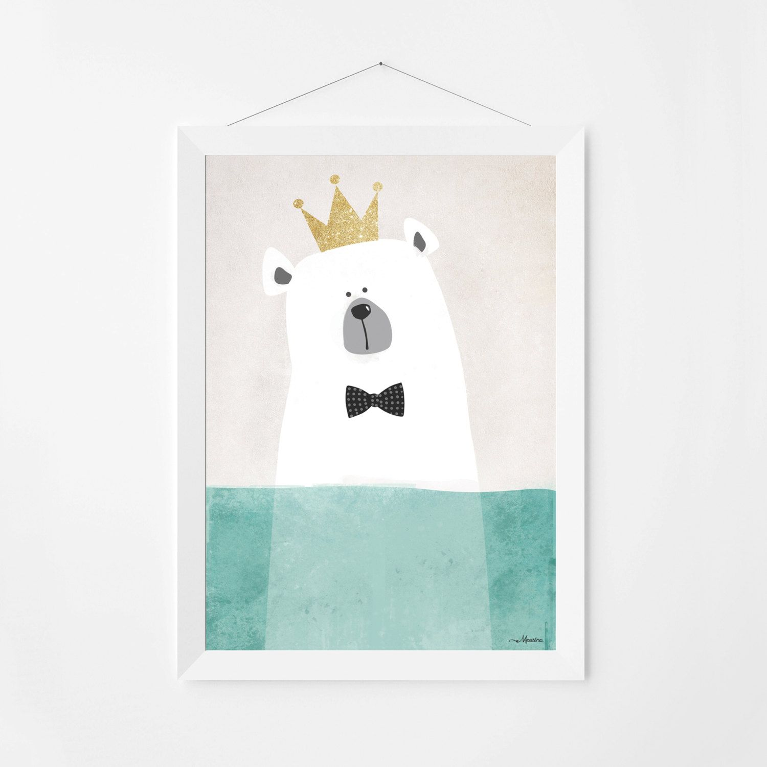 Poster print wall art. Illustration art print with cute polar bear. Kids and nursery wall art for instant download. Available in 3 sizes. by PenguinGraphics on Etsy