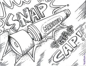 Snap That Cap Color Sheet Art Worksheets Art Classroom Coloring Sheets