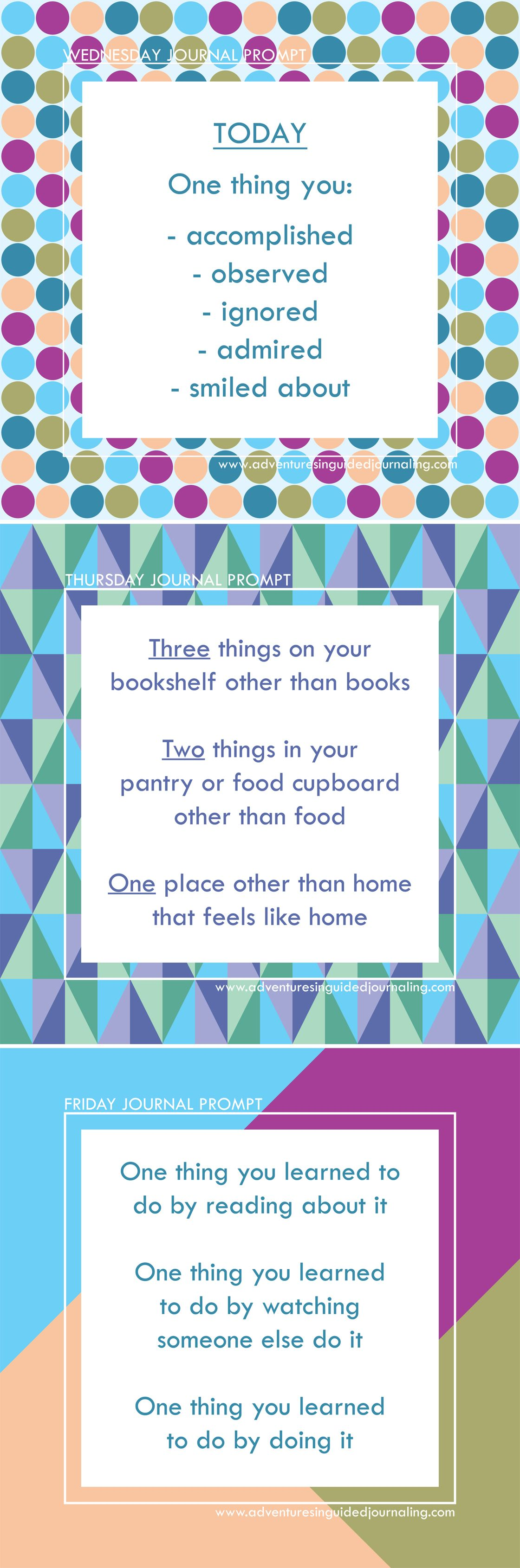 Daily Journal Prompts from Adventures in Guided Journaling