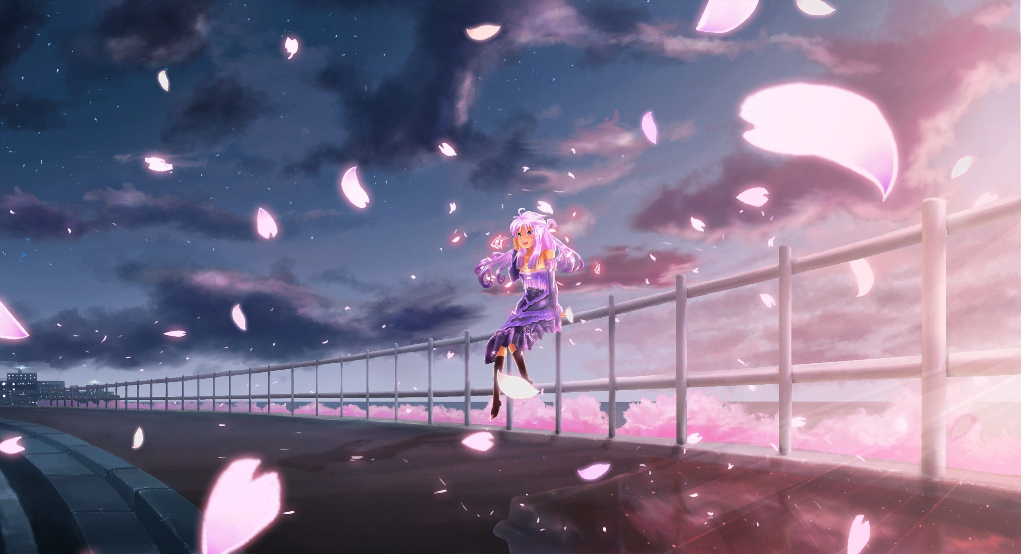 3400x1845 Anime 3400x1845 cherry blossom sky clouds anime