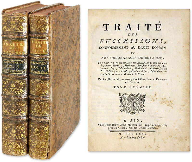 Traite des Successions, Conformement au Droit Romain et aux.. | Andre de Barrigue de Montvallon