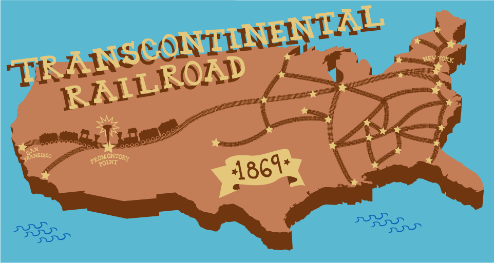 The First Transcontinental Railroad Connecting The Atlantic And - Us-transcontinental-railroad-map