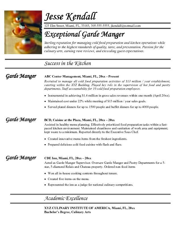 Not a fan of the font, but I like the section names and the layout - chef resume examples