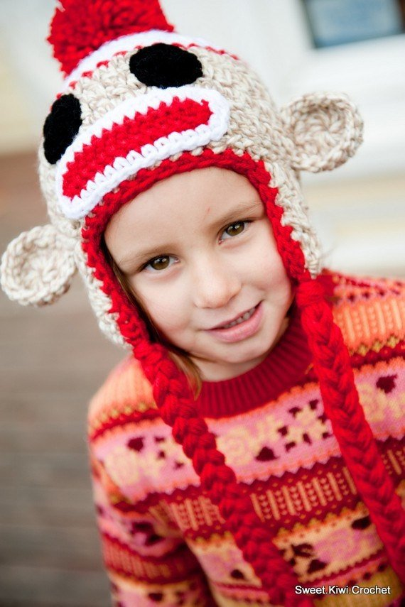 e3210ba4d Crochet Pattern, Sock Monkey Hat | crochet hats | Sock monkey hat ...
