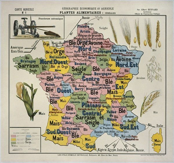 Carte Inde Agriculture.Map Of France Economic And Agricultural Geography Agfair