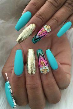 Turquoise Blue Matte Gold Nails Design Nailart