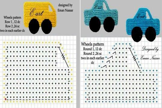 Aplique de Crochê em Carros - / Apply of Crochet under Cars -