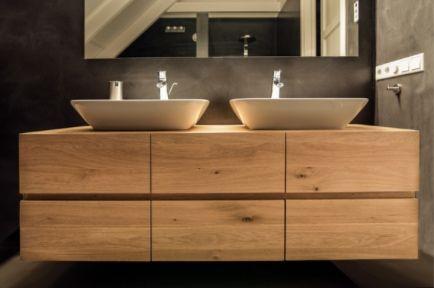 Houten badkamermeubel met dubbele opstaande wasbak home