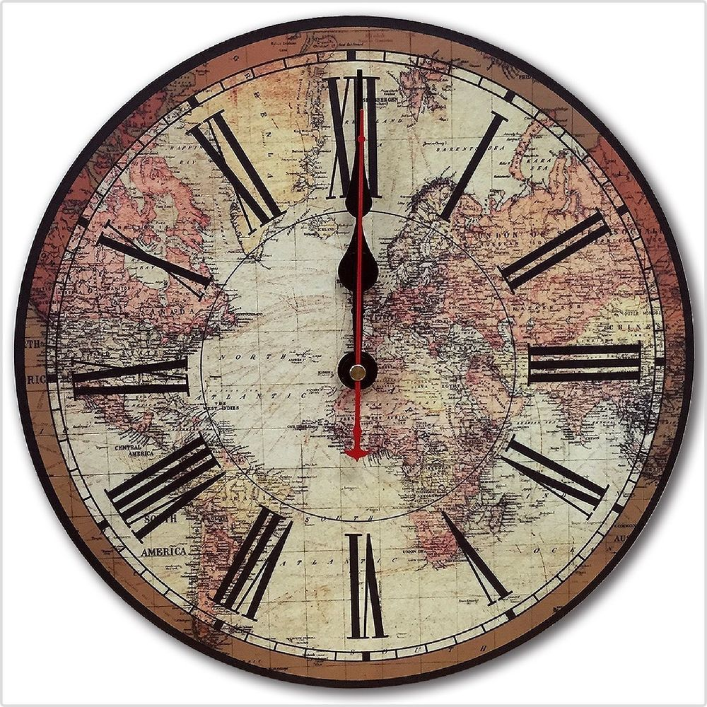 Old World Map Wall Clock Silence Mode Rustic Country Chic Large Antique Style Relian Tuscan Large Wall Clock Decor Wood Wall Clock Clock Wall Decor