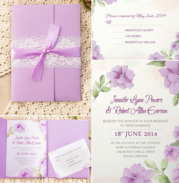 how to assemble your wedding invitations with pockets - Lavender Wedding Invitations