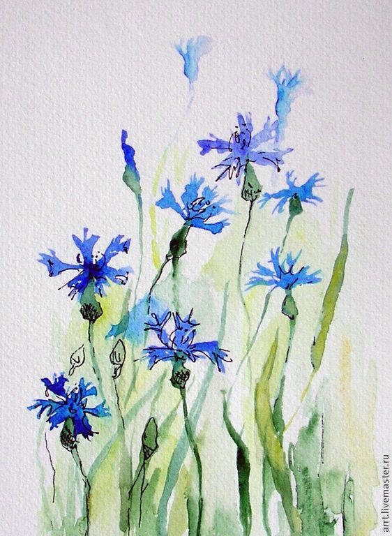 Акварель полевые цветы