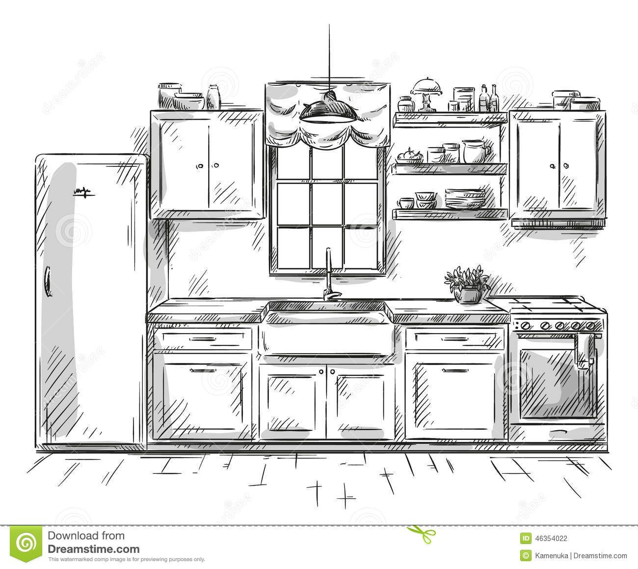 dibujo interior de la cocina ejemplo del vector 46354022