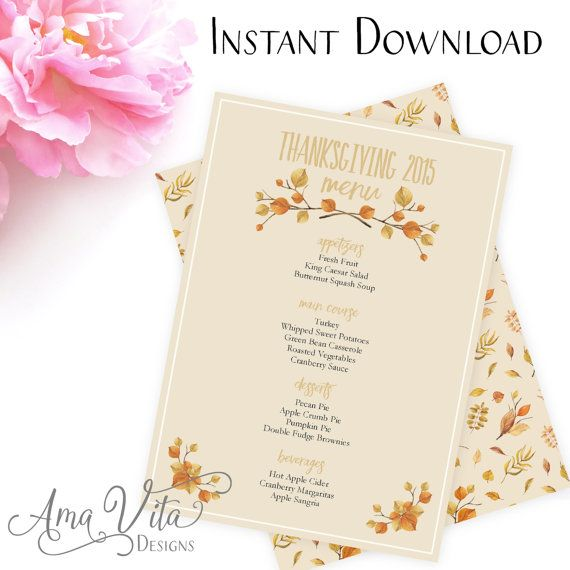 Printable Thanksgiving Menu Editable Menu INSTANT DOWNLOAD - menu template word free