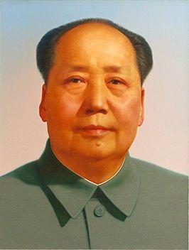Officieel portret van Mao Zedong (1967). (26 december 1893- 9 september 1976). Leidde China op dictatoriale wijze, met geweld en terreur. Door zijn beleid was hij de oorzaak van 40 tot 70 miljoen doden.