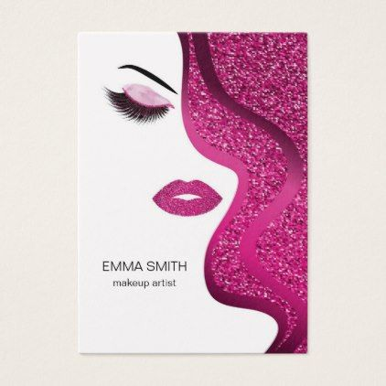 Makeup artist business card with glitter effect makeup artist business card with glitter effect hair stylist gifts business cyo diy custom create reheart Image collections