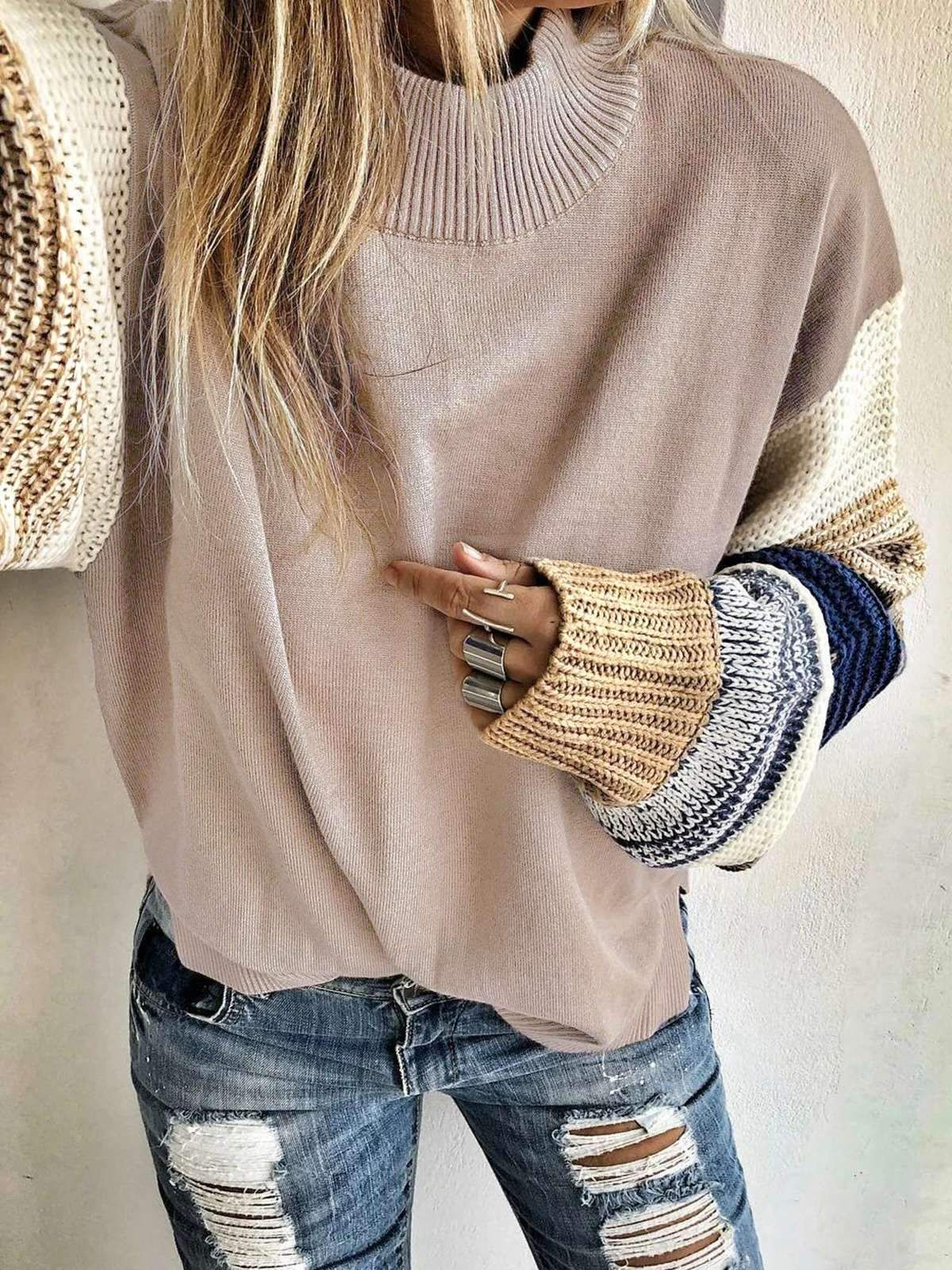 Photo of Loose Knit Round neck Long sleeve Sweaters