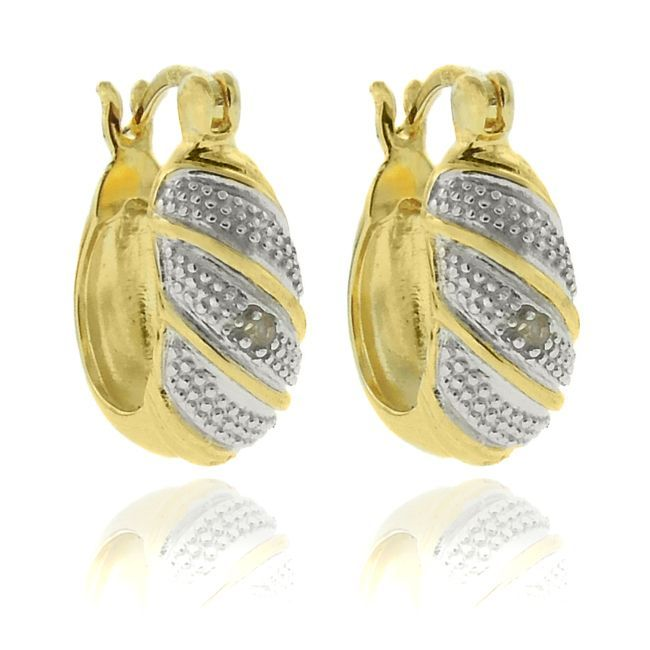 Finesque Gold over Silver Diamond Accent Hoop Earrings, Women's