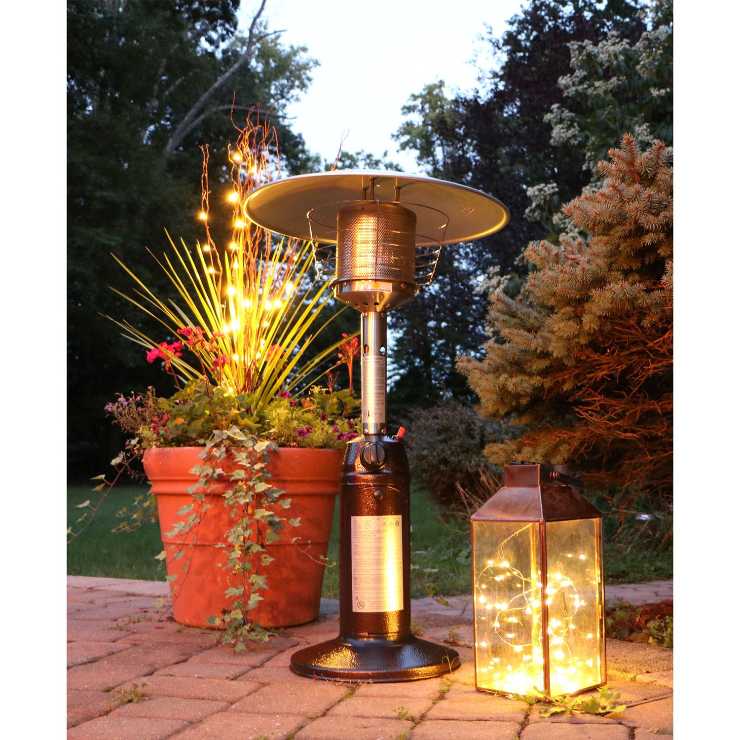 Hanover Mini Umbrella Tabletop Propane Patio Heater In Hammered Bronze    HAN0204HB