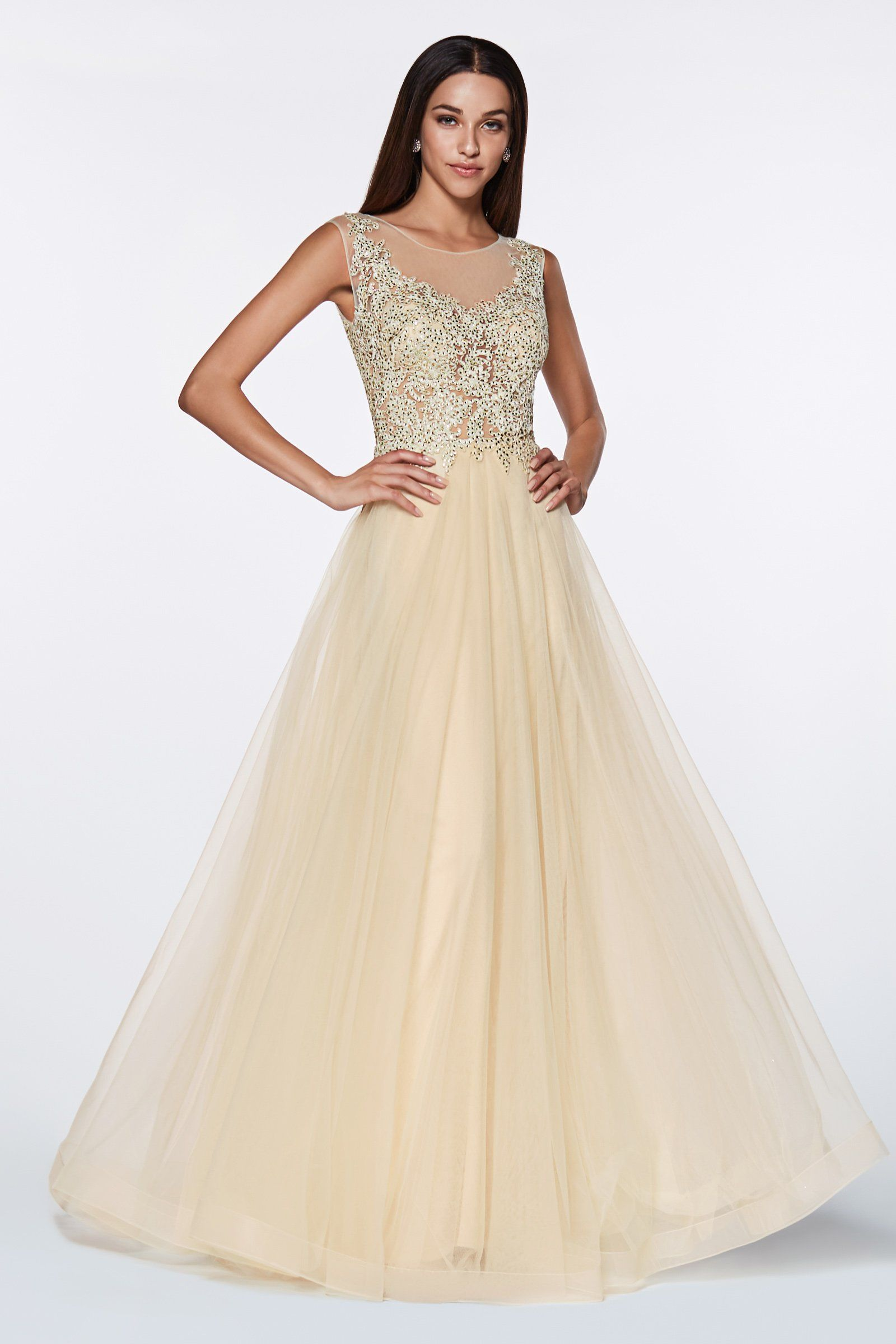 864f5208de Long lace bodice dress with tulle skirt by cinderella divine cd0136 ...