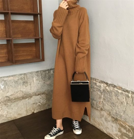 Turtleneck Pullover Long Dress Long Sleeve Knitted Casual Loose Maxi Sweater