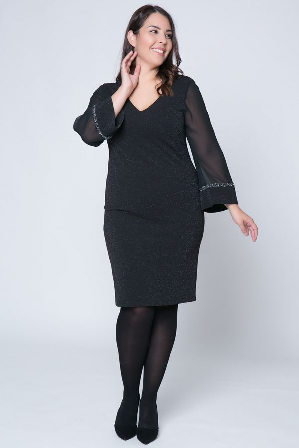 Midi μαύρο lurex φόρεμα με διάφανα μανίκια  6bfaf66f323