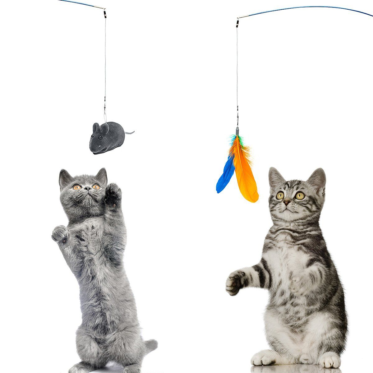 11in1 Cat Feather Teaser Toys Retractable Wand Poles With Catnip Fun Toys For Cat Kittens You Can Get Additional D Cat Toys Cats And Kittens Christmas Cats