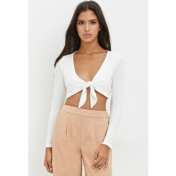 Forever 21 Knotted-Front Crop Top ($18) ❤ liked on Polyvore featuring tops, forever 21 tops, long sleeve tops, henley tops, knot top and white top