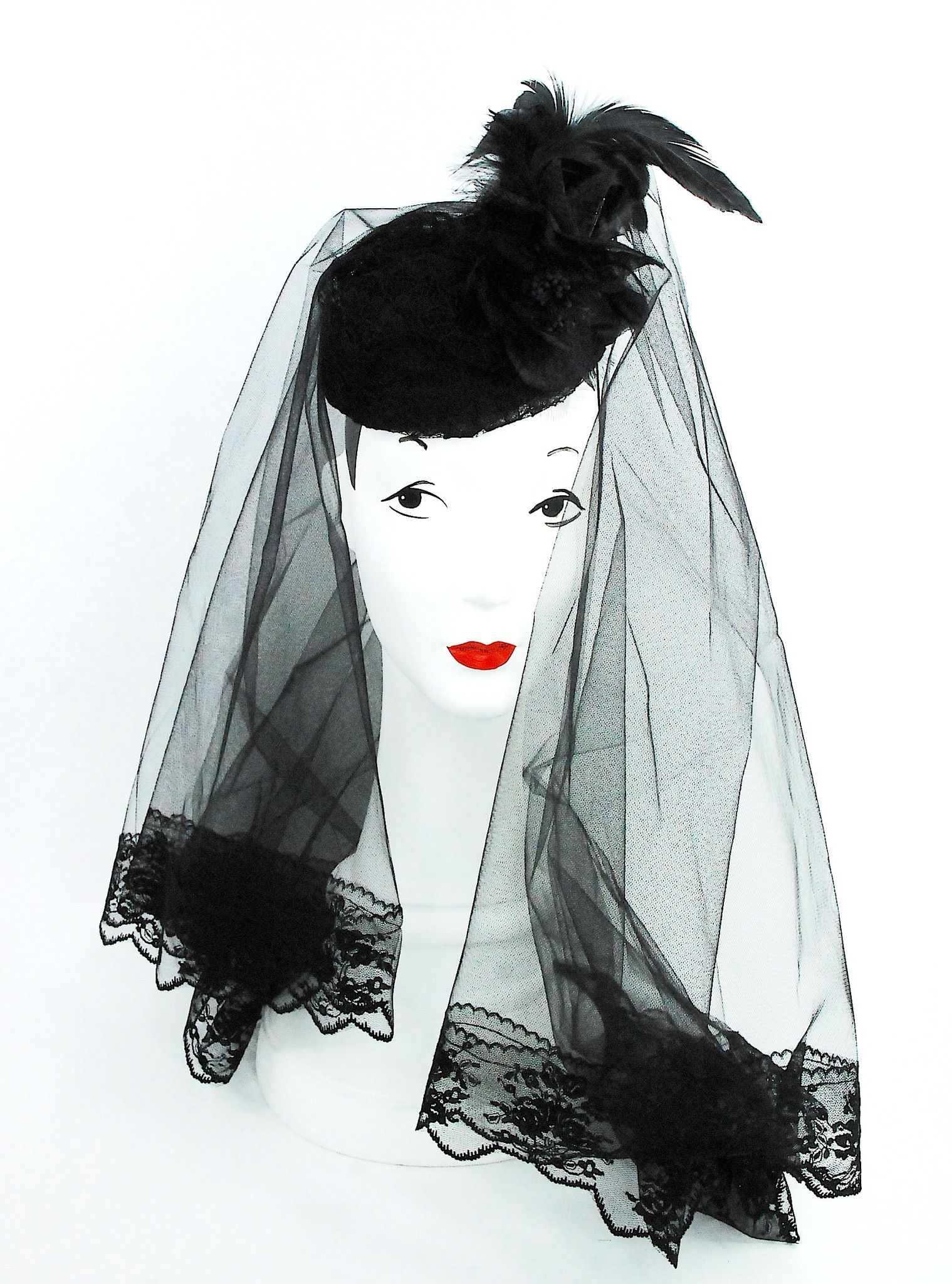 Lace dress styles for funeral  Black funeral hat with lace veil black silk flower and black