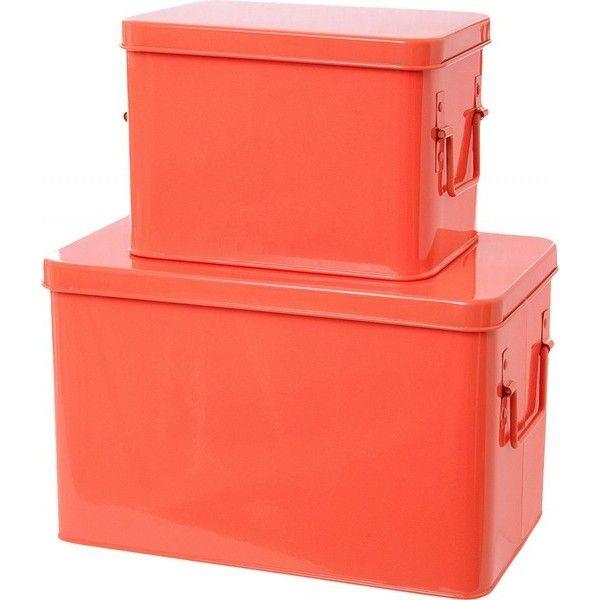 bo te rangement en m tal orange fluo present time set de. Black Bedroom Furniture Sets. Home Design Ideas