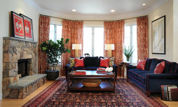 Navy And Red Traditional Living Room In 2019 Rugs In